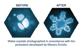 Krystaly vody před a po