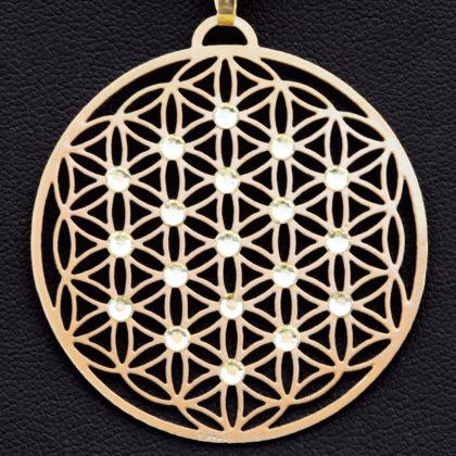 """Přívěsek ,,Květ života"""" pozlacený osazen 19ti Swarovski krystalami, průměr 3 cm"""