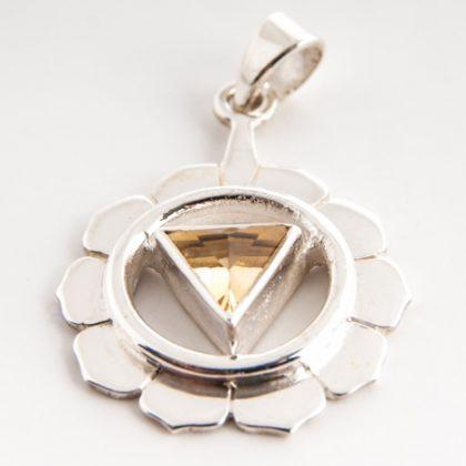 Čakrový přívěsek Manipura stříbrný s citrínem