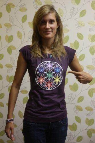 Dámské tričko z biobambusu Květ života, barva fialová