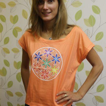 Dámské tričko z biobavlny Květ života, barva meruňková