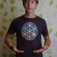 Pánské tričko z biobambusu Květ života, barva fialová
