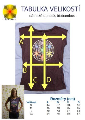 Dámské tričko z biobambusu Květ života, barva fialová - tabulka velikostí