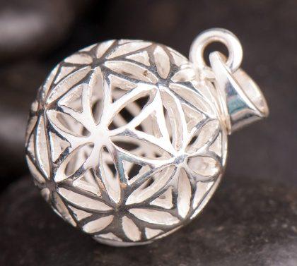 """Kulička """"Květ Života"""" stříbrná, průměr 17 mm"""