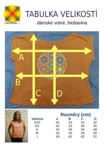 Dámské tričko z biobavlny Květ života, barva meruňková - tabulka velikostí