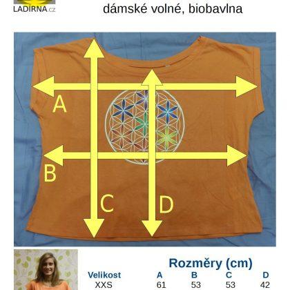 Dámské tričko z biobavlny Květ života, barva meruňková – tabulka velikostí