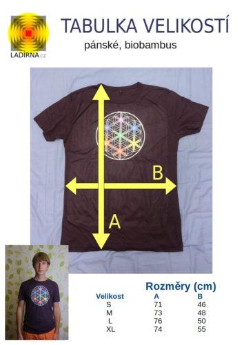 Pánské tričko z biobambusu Květ života, barva fialová - tabulka velikostí