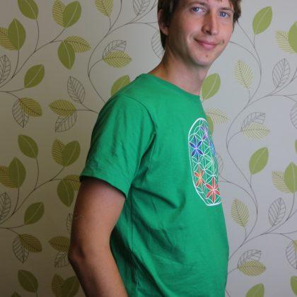 Pánské tričko z biobavlny Květ života, barva zelená
