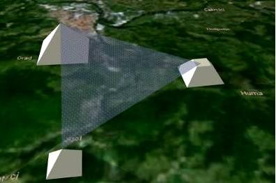 Ilustrace rovnostranného trojúhelníku mezi vrcholy pyramid Slunce, Měsíce a Draka