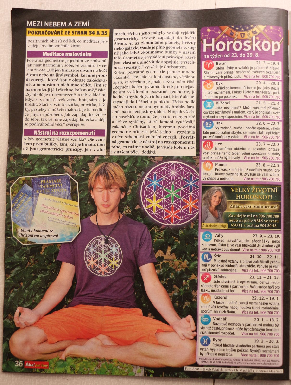Článek o posvátné geometrii v časopise Aha! pro ženy
