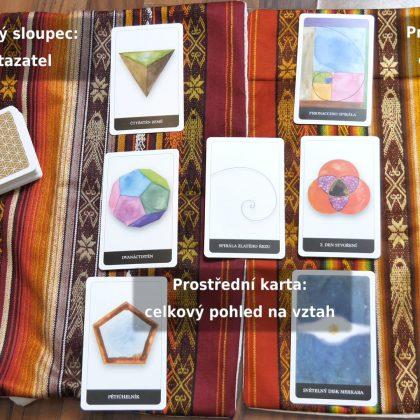 Ukázka komplexního výkladu vztahu s Kartami posvátné geometrie