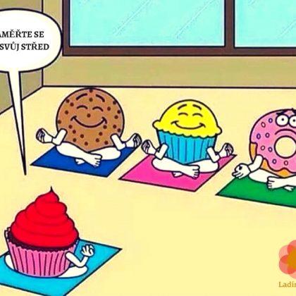 Vtip: Muffiny a donut se učí meditovat…